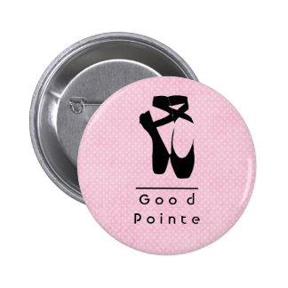 Good Pointe. Black Ballet Shoes En Pointe Pinback Button
