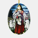 Good Shepard Double-Sided Oval Ceramic Christmas Ornament