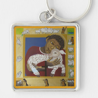 Good Shepherd Silver-Colored Square Keychain