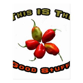 Good Stuff Five Habanero Hot Pepper Design Postcard