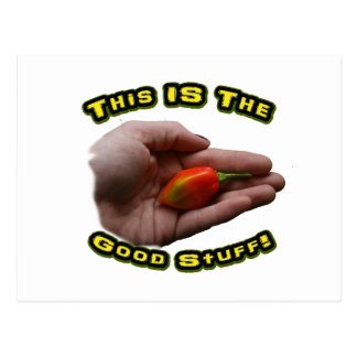 Good Stuff Habanero in Hand Hot Pepper Design Postcard