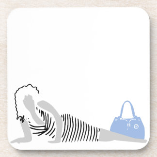 Good Thick - Woman in black Striped Dress Coaster