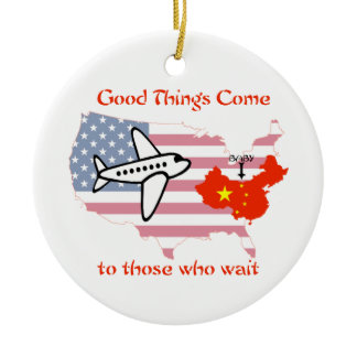 Good Things Come to Those Who Wait -China adoption Double-Sided Ceramic Round Christmas Ornament