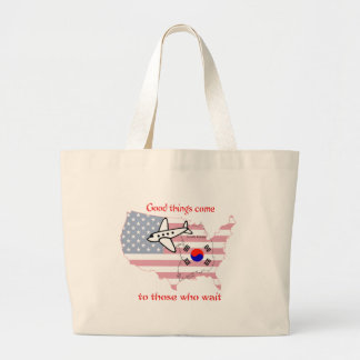 Good things come to those who wait (Korean adopt) Large Tote Bag