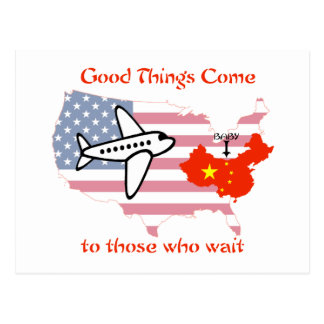 Good things come to those who wait postcard