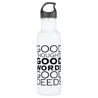 Good Thoughts, Good Words, Good Deeds Water Bottle
