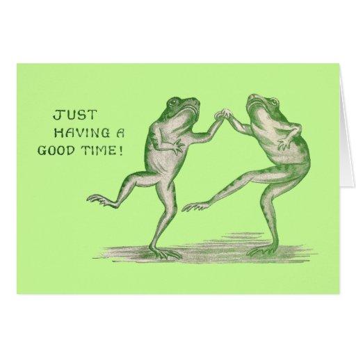 Good Time Frogs Dance Vintage Card