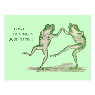 Good Time Frogs Dance Vintage Post Card