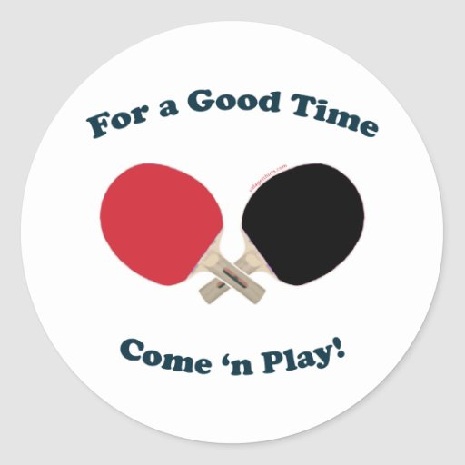 Good Time Ping Pong Round Stickers