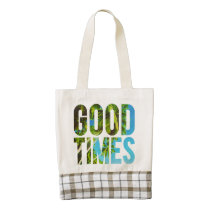 good times, travel, cool, summer, beach, motivational, funny, dreams, typography, good, times, palm tree, holidays, graphic, vacation, fun, zazzle, heart, tote, bag, [[missing key: type_heartba]] with custom graphic design