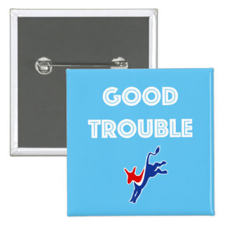 Good Trouble Donkey Square Button