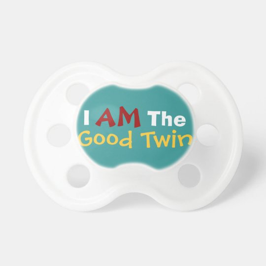 Good Twin / Evil Twin Funny Baby Text Pacifier