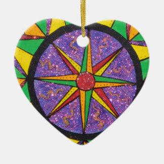 Good Vibe Mariner's Compass Mandala Ceramic Ornament