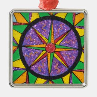 Good Vibe Mariner's Compass Mandala Metal Ornament