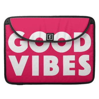 Good Vibes Big White Text Logo Motivational Sleeve For MacBook Pro