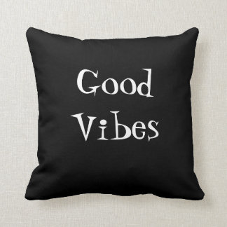 Good Vibes Black With White Typography Throw Pillow