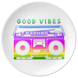 Good Vibes Colorful Stereo Stencil Porcelain Plate