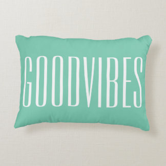 Good Vibes Customizable White And Green New Age Decorative Pillow