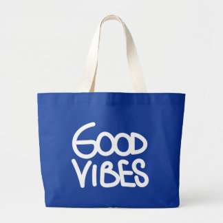 Good Vibes Handwriting (Choose Your Own Color) Large Tote Bag