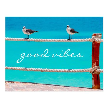 "Beach Themed ""Good vibes"" happy beach birds photo postcard"