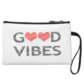 Good vibes - heart - black and red. wristlet