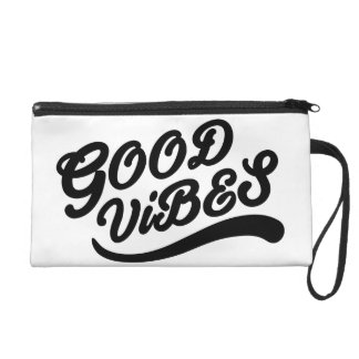 Good Vibes Inspirational Customizable Black White Wristlet