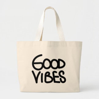 Good Vibes Inspirational Motivational Quote Black Large Tote Bag