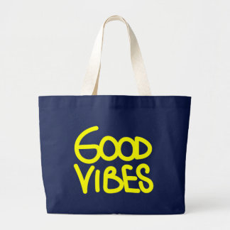Good Vibes Motivational Logo Yellow Large Tote Bag