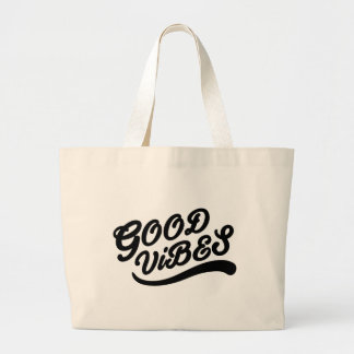 Good Vibes New Age Positivity Typography Design Large Tote Bag