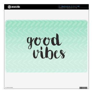 Good Vibes on Mint Ombre Chevron Print Skin MacBook Air Skin