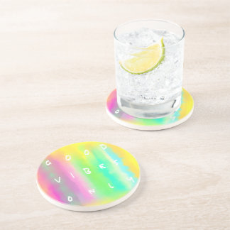 Good Vibes Only Colorful Positivity Quote Coaster