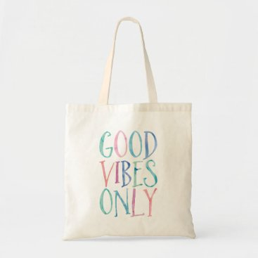 heartlocked Good Vibes Only - Colorful Watercolor Typography Tote Bag