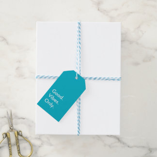 Good. Vibes. Only. Customizable White Cyan Blue Gift Tags