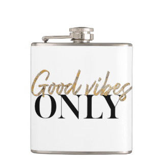 GOOD VIBES ONLY Faux Gold Foil Script Typography Flask