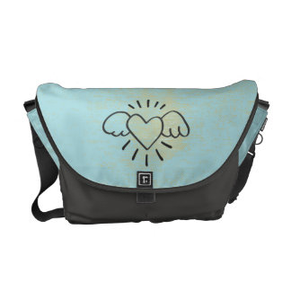 Good Vibes Only.  Flying Heart Grunge Vintage Courier Bag