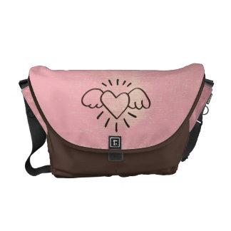 Good Vibes Only.  Flying Heart Grunge Vintage Messenger Bag