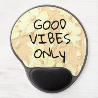 Good Vibes Only Golden Floral Gel Mouse Pad