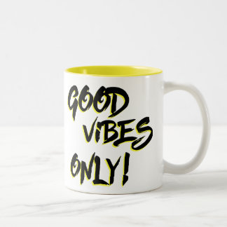 Good Vibes Only Grungy Two-Tone Coffee Mug