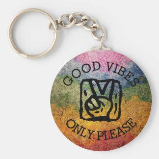 Good Vibes Only Please Peace Rainbow Basic Round Button Keychain