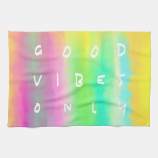 Good Vibes Only Positive Mindset Quote Art Kitchen Towel