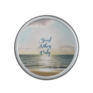 """Good Vibes Only"" Quote Be Positive, Sea Beach Sun Bluetooth Speaker"