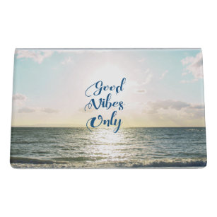 Motivational quotes business card holders zazzle good vibes only quote be positive sea beach sun desk business card holder reheart Gallery