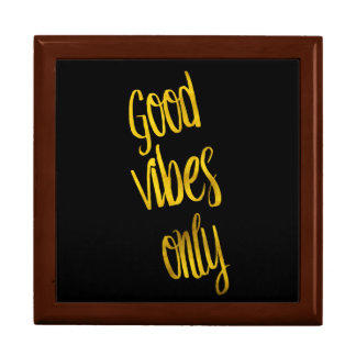 Good Vibes Only Quote Gold Faux Foil Vibe Quotes Jewelry Box