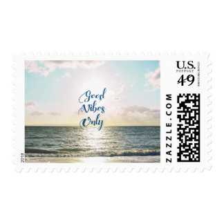 """Good Vibes Only"" Quote Positive Sea Sun Postage"