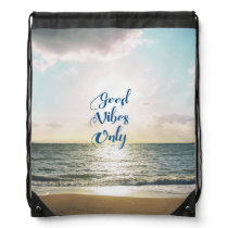 """""""Good Vibes Only"""" Quote Typography Sea Sun Drawstring Backpack"""