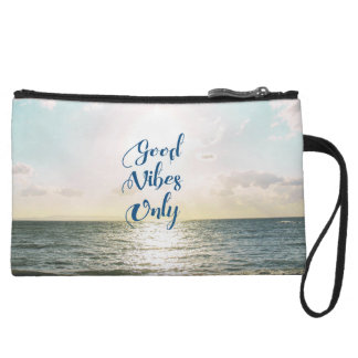 """""""Good Vibes Only"""" Quote Typography Sea Sun Wristlet Wallet"""