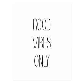 """Good Vibes Only"" Text Design Postcard"