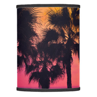 """""""Good Vibes Only""""  Tropical Beach Palms Sunset Lamp Shade"""