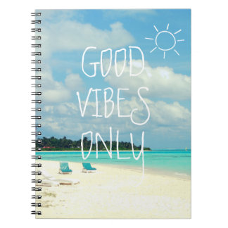 GOOD VIBES ONLY Tropical Island Spiral Notebook