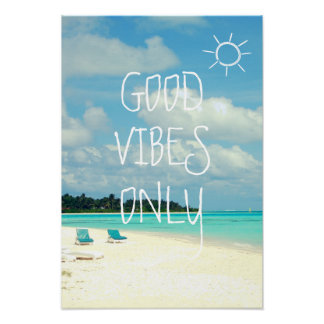 GOOD VIBES ONLY Tropical Typography Poster